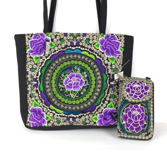Handbags - Mexican bohemian embroidered tote purse & wallet
